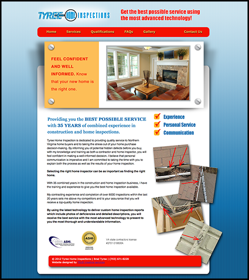 Nice Website Design Northern Virginia. Client: Tyree Home Inspections